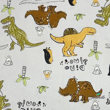 Динозавры, пингвины, крокодилы на сером. CN-0232 Остаток 57 см.