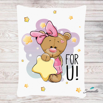 Мишка для девочек. Панель для одеяла/пледа (78х104см). RUPN-0101