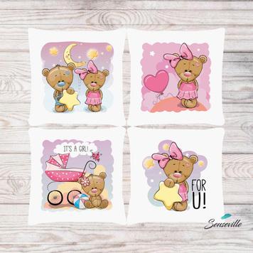 Мишка для девочек. Набор из 4-х панелей для подушек/бортиков (36х36см). RUPN-0102