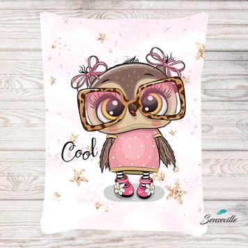 Сова в розовом платье и очках. Панель для одеяла/пледа (78х104см). RUPN-0117