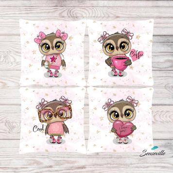 Сова в розовом платье и очках. Набор из 4-х панелей для подушек/бортиков (36х36см). RUPN-0118
