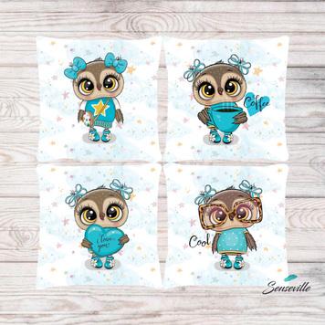 Сова в бирюзовом платье и очках. Набор из 4-х панелей для подушек/бортиков (36х36см). RUPN-0120