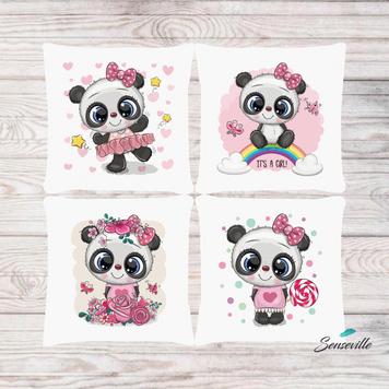 Панда для девочек. Набор из 4-х панелей для подушек/бортиков (36х36см). RUPN-0080