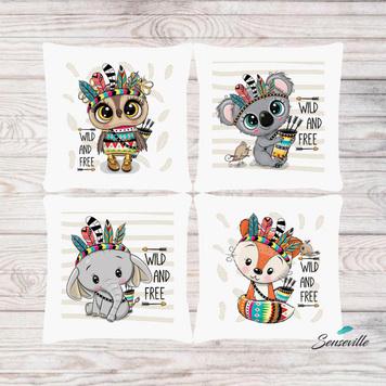 Зверята со стрелами и перья. Набор из 4-х панелей для подушек/бортиков (36х36см). RUPN-0086