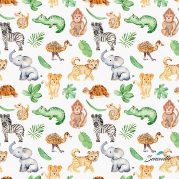 Африканские зверята и листочки на белом. RUN-0214 Остаток 50 см.