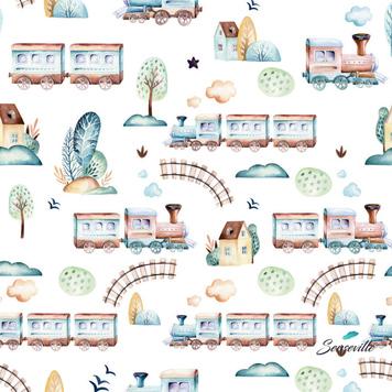 Поезд, железная дорога, дома на белом.RUN-0247