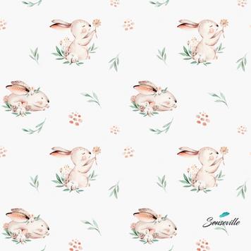 Кролики с одуванчиками на белом. Остаток 67 см. RUN-0354