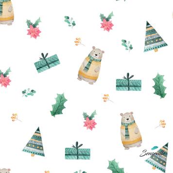 Мишки, ёлки, подарки на белом. RUN-0648
