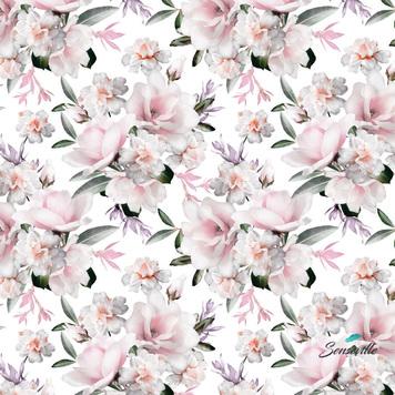Нежно-розовые цветы на белом. RUN-0548 Остаток 50 см.