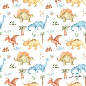 Динозавры с пальмами на белом. Брак: непрокрасы каждые 30 см. RUN-0212