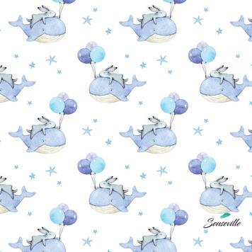 Зайчики, киты, воздушные шары на белом. RUN-0421 ОСТАТОК 50 см.
