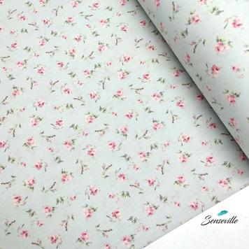Маленькие цветочки и травинки на светло-зелёном. TR-0329В БРАК РУБЦЫ ( в основном у кромки )