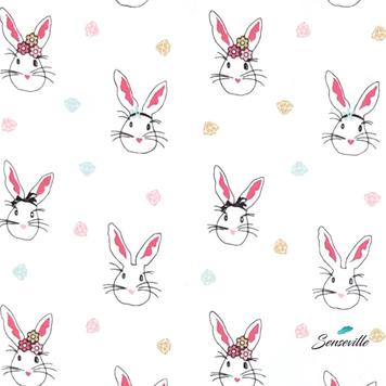 Кролики с алмазами на белом. TR-0303 Брак. Размыты границы кроликов