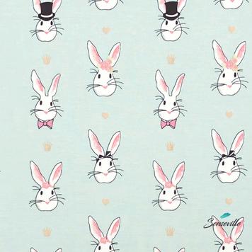 Кролики с сердечками на мятном. Остаток 28 см. TR-0117