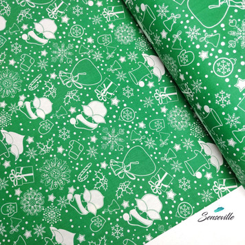 Белые Деды Морозы на зелёном. TR-0313